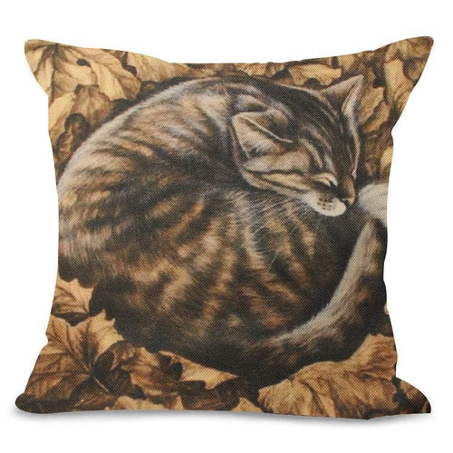 Autumn Leaves Cat Design Cushion Cover - Cat Lovers Australia