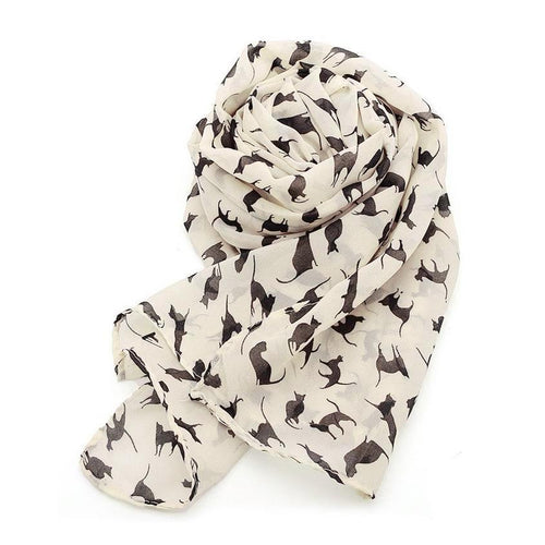 Women's Chiffon Scarf with Cat Pattern - Beige - Cat Lovers Australia