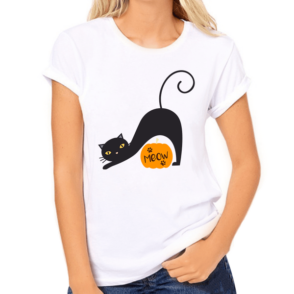 Black Cat with Meow Pumpkin Print Women's T-Shirt - Cat Lovers Australia