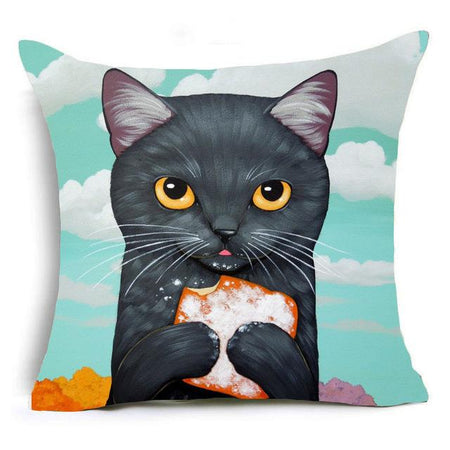 Ginger Cat Eating Pizza Design Cushion Cover