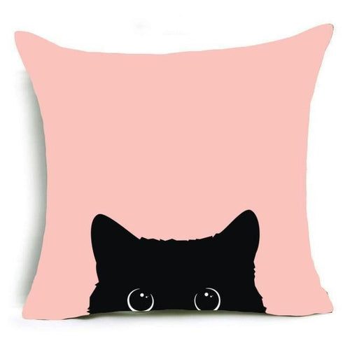 Black Cat Peek-a-Boo Design Cushion Cover - Cat Lovers Australia