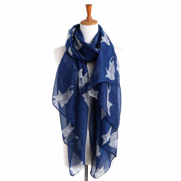 Women's Long Scarf with White Cat Pattern - Navy Blue - Cat Lovers Australia