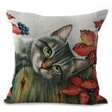 Blueberry Tree Cat Design Cushion Cover - Cat Lovers Australia