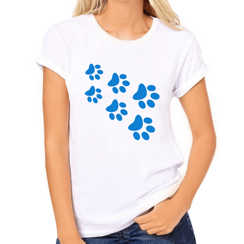 Cat Paws Blue Print Women's T-Shirt - Cat Lovers Australia
