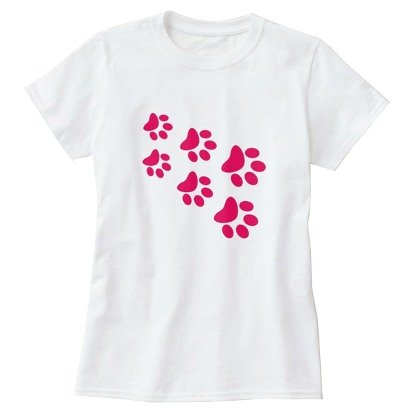 Cat Paws Pink Print Women's T-Shirt - Cat Lovers Australia