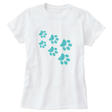 Cat Paws Teal Print Women's T-Shirt - Cat Lovers Australia