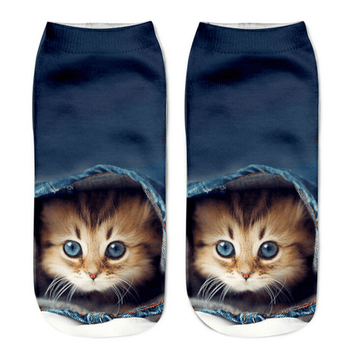 Cat Socks - Ankle, Blue Jeans-Look - Cat Lovers Australia