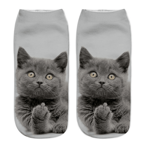 Cat Socks - Ankle, Grey Funny - Cat Lovers Australia