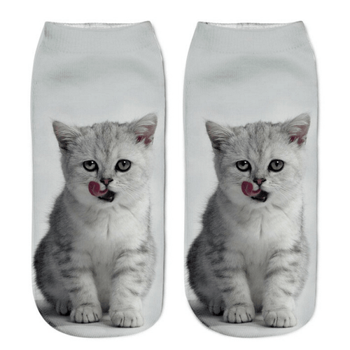Cat Socks - Ankle, Grey & White - Cat Lovers Australia