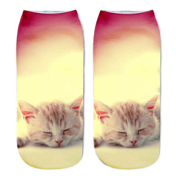 Cat Socks - Ankle, Yellow & Pink - Cat Lovers Australia