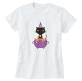 Cat Witch Print Women's T-Shirt - Cat Lovers Australia