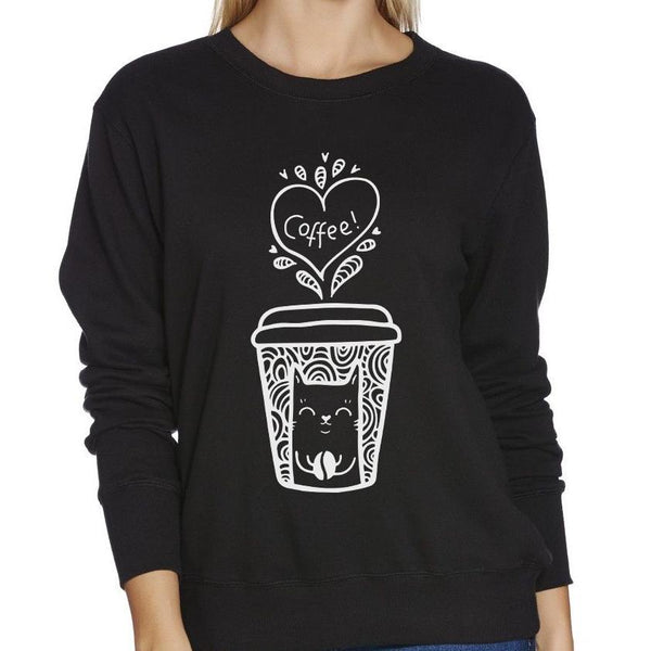 Coffee Cat Black Women's Jumper - Cat Lovers Australia