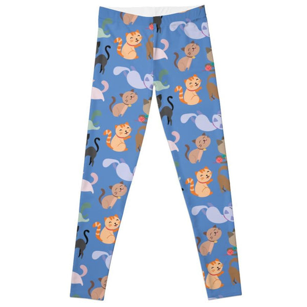 Women's Leggings with Colourful Cats Pattern - Cat Lovers Australia