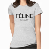 Feline Meow White Print Women's T-Shirt (More Colours) - Cat Lovers Australia