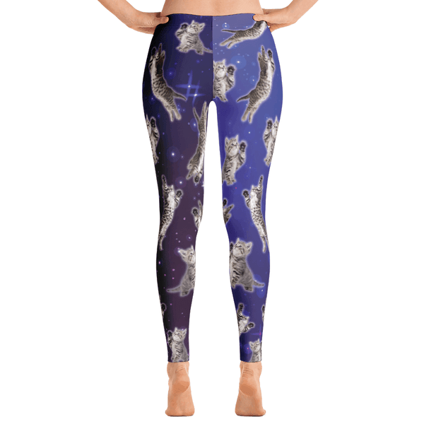 Women's Leggings with Kittens in Space Print - Cat Lovers Australia
