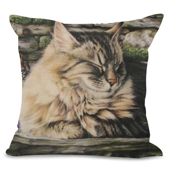 Sleeping Fluffy Cat Design Cushion Cover - Cat Lovers Australia