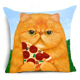 Ginger Cat Eating Pizza Design Cushion Cover - Cat Lovers Australia