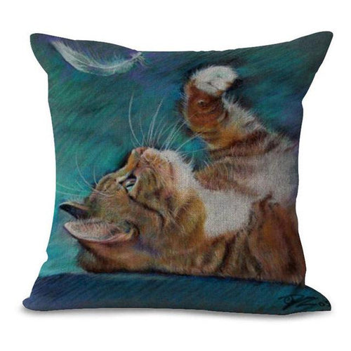 Ginger Playing with Feather Cat Design Cushion Cover - Cat Lovers Australia