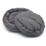 Cosy Round Cat Bed with Geometric Pattern Base - Cat Lovers Australia
