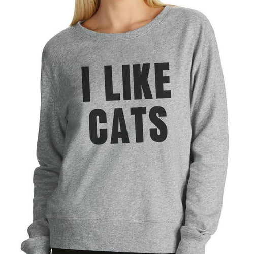 I Like Cats Grey Women's Jumper - Cat Lovers Australia