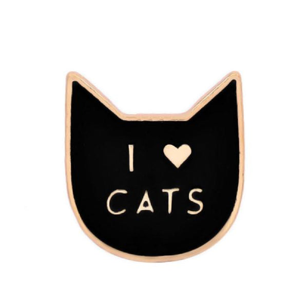 I Heart Cats Black Enamel Pin - Cat Lovers Australia