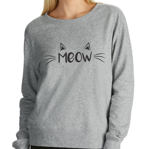 Meow Cat Grey Women's Jumper - Cat Lovers Australia
