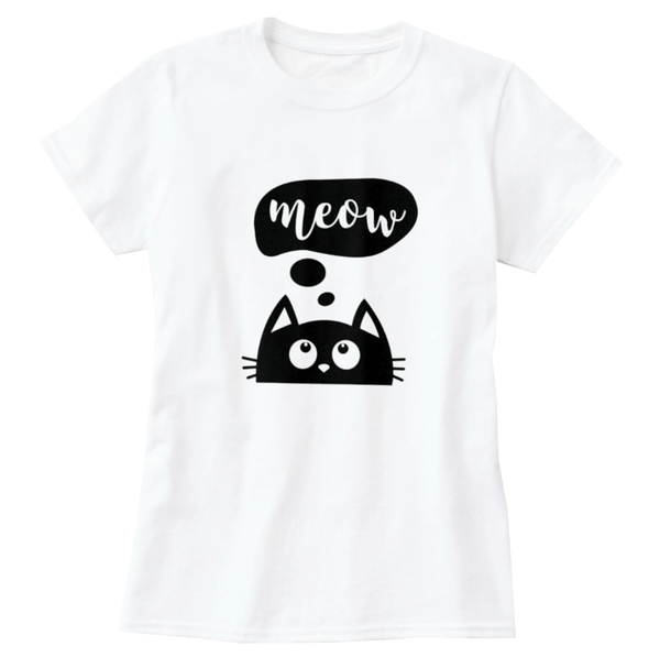 Meow Thought Bubble Print Women's T-Shirt - Cat Lovers Australia