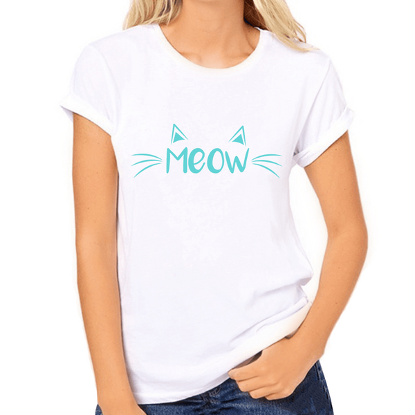 Meow Coloured Print Women's T-Shirt - Cat Lovers Australia