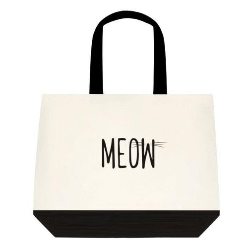 Meow Cream and Black Tote Bag - Cat Lovers Australia