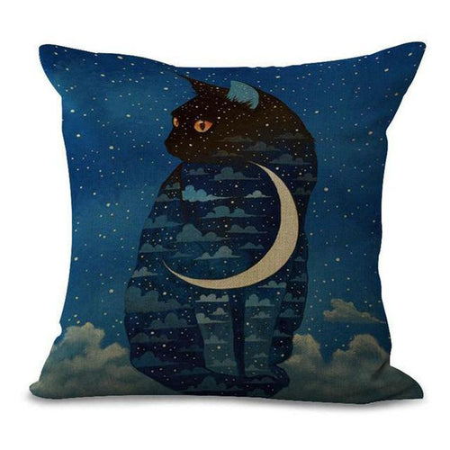 Midnight Moon Cat Design Cushion Cover - Cat Lovers Australia