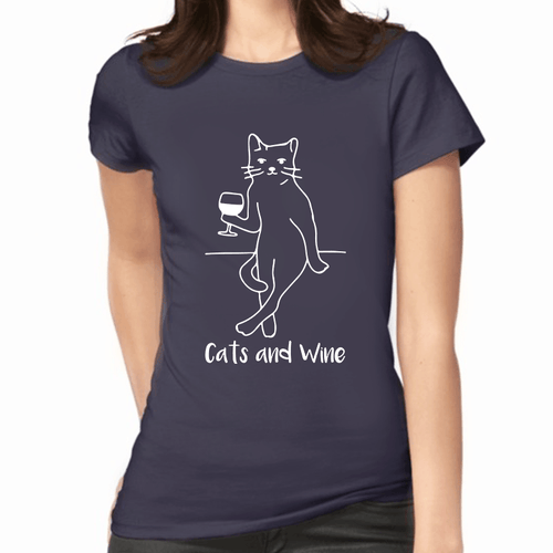 Cats and Wine Print Women's T-Shirt (More Colours) - Cat Lovers Australia