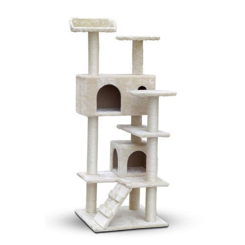 Luxury Cat Tree Condo and Scratching Post 134cm Beige - Cat Lovers Australia