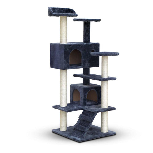 Luxury Cat Tree Condo and Scratching Post 134cm Grey - Cat Lovers Australia