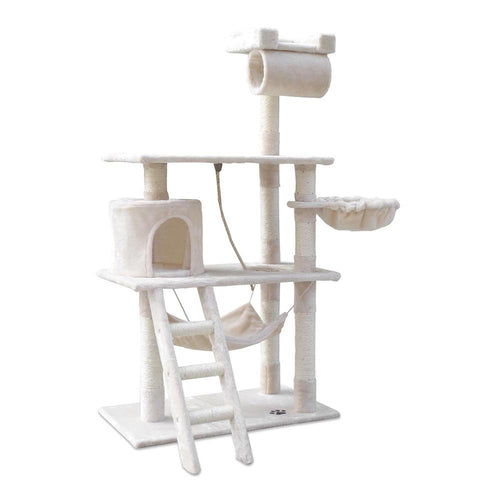 Luxury Cat Tree Condo and Scratching Post 141cm Beige - Cat Lovers Australia
