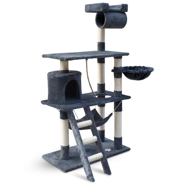 Luxury Cat Tree Condo and Scratching Post 141cm grey - Cat Lovers Australia
