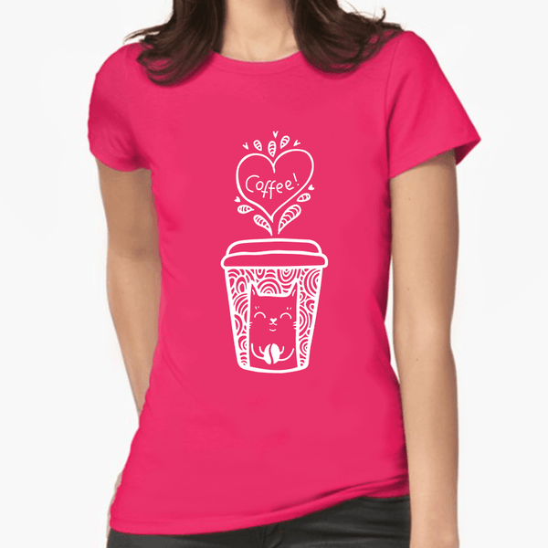 Coffee Cat Print Women's T-Shirt (More Colours) - Cat Lovers Australia