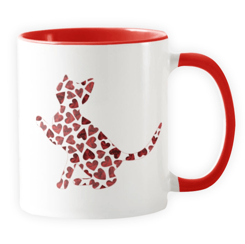 Kitten Hearts Silhouette  - Novelty Cat Mug - Cat Lovers Australia