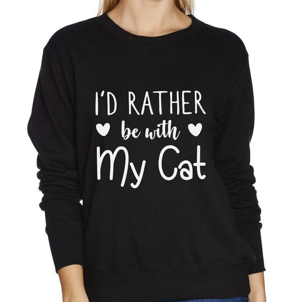 I'd Rather Be With My Cat Black Women's Jumper - Cat Lovers Australia