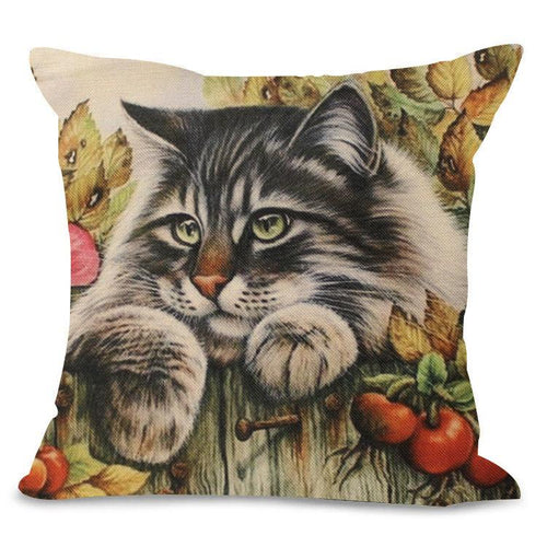 Peeking Over Fence Cat Design Cushion Cover - Cat Lovers Australia
