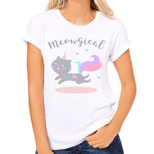 Meowgical Unicorn Cat Print Women's T-Shirt - Cat Lovers Australia