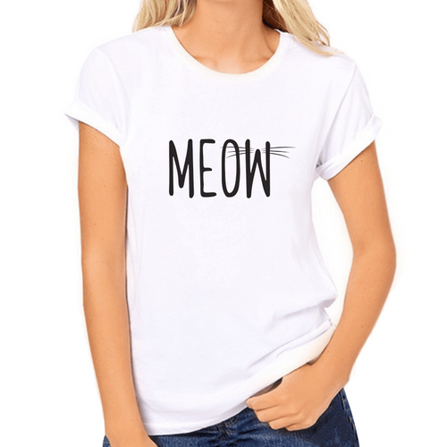 Meow Print White Women's T-Shirt - Cat Lovers Australia