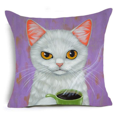 White Cat Drinking Coffee Design Cushion Cover - Cat Lovers Australia