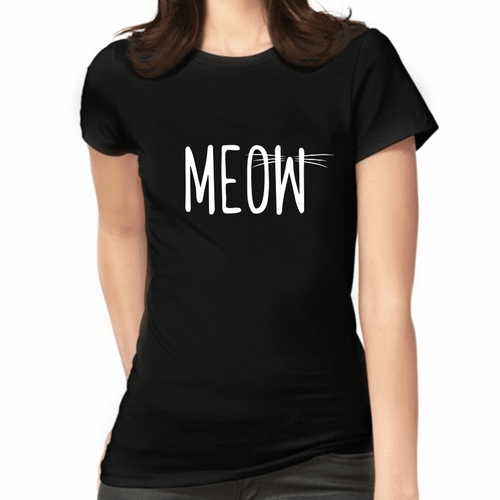 Meow Print Black Women's T-Shirt - Cat Lovers Australia