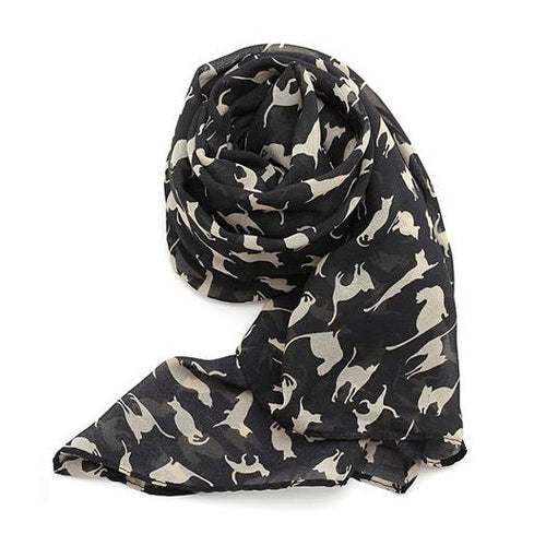 Women's Chiffon Scarf with Cat Pattern - Black - Cat Lovers Australia