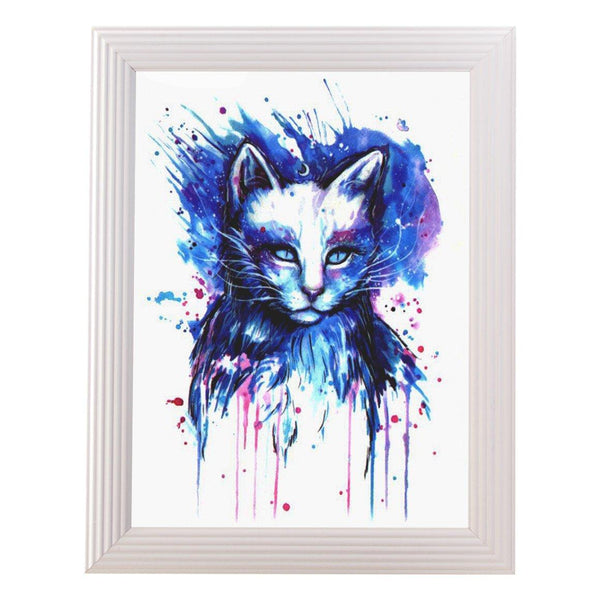 Mystical Cat Print in White Frame - Cat Lovers Australia