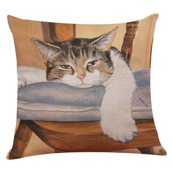Calico on a Chair Cat Design Cushion Cover - Cat Lovers Australia