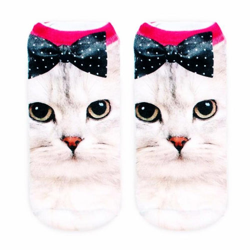 Cat Socks - Ankle, Pretty Bow - Cat Lovers Australia