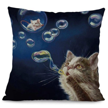 White Cat Drinking Coffee Design Cushion Cover
