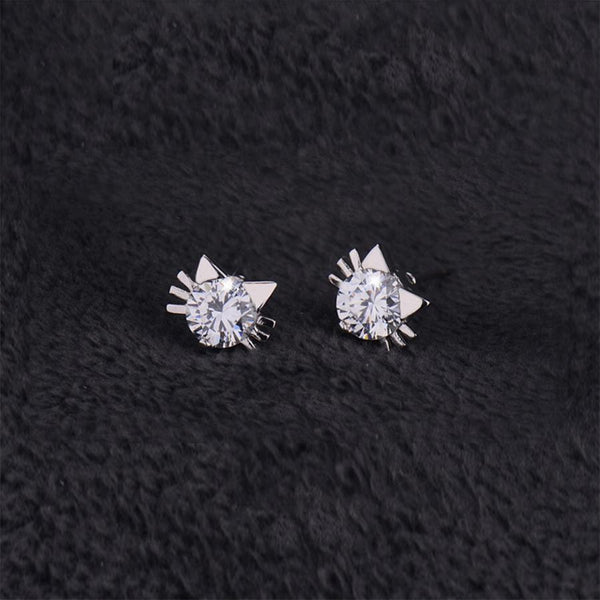 Crystal Cat Stud Earrings - Cat Lovers Australia