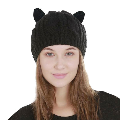 Women's Winter Beanie with Cat Ears - Cat Lovers Australia